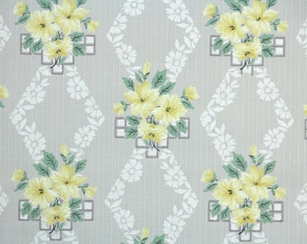 1940s Vintage Wallpaper by the Yard - Floral Wallpaper with Yellow Flowers on Gray