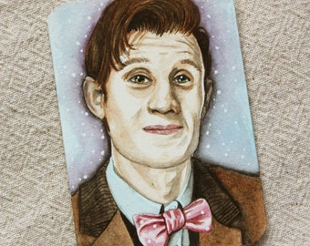 Original ACEO watercolor painting 11th Doctor Who ATC miniature painting