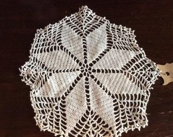 "Vintage White Crochet Doily 8"" Star Pattern D112"