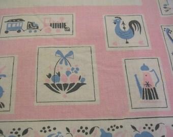 "Vintage Pink Blue Kitchen Motif Tablecloth 32"" X 36"""