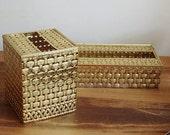 Pair Stylebuilt Gold Metal Tissue Holder Kleenex Boxes Basketweave