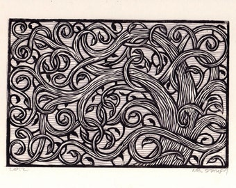Swirly Tree Linocut Art Print