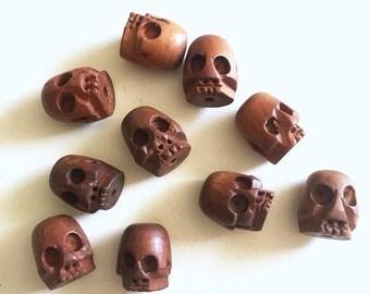 Carved Wood Skull Beads