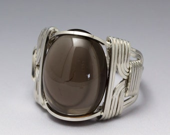 Smoky Quartz Sterling Silver Wire Wrapped Cabochon Ring - Made to Order and Ships Fast!