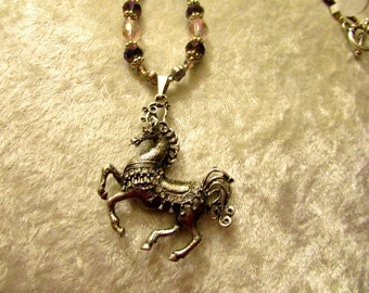 Carousel Horse Pendant Necklace, Beaded