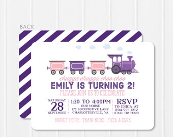 Train Invitation, Girl Train Birthday Invitation, Pink and Purple Train Party, Printable or Printed