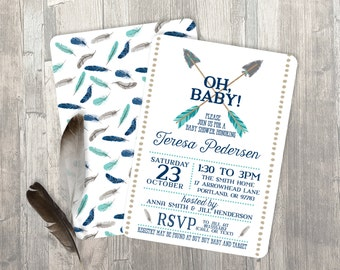 Boy Baby Shower Invitation - Arrow Baby Shower Invitation - Feathers Invitation - Tribal - Boho
