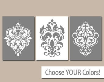 GRAY Wall Art, Gray Bedroom Pictures, CANVAS or Prints, White Gray Bathroom Artwork, Damask Wall Art, Home Decor, Wall Hanging, Set of 3