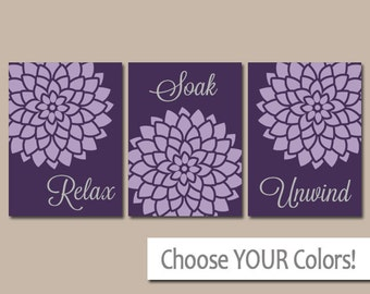 Purple Bathroom Wall Art Canvas Or Prints Purple Bathroom Decor Relax Soak Unwind