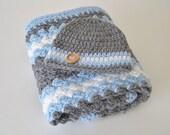 Crochet Baby Blanket Set, Nursing Blanket, Baby Travel Blanket Set, Stroller-Car Carrier Blanket & Beanie - Blue, Grey, White Baby Blanket