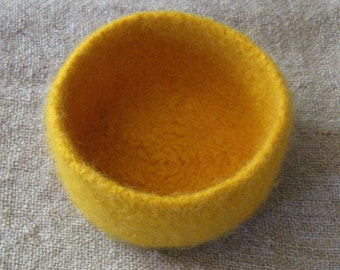 Mustard Yellow Felted Bowl - In Stock - Ready to Ship