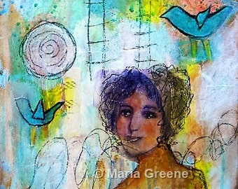 Original abstract art, mixed media painting, female portrait, woman