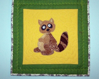 Quilted nursery decor wall art raccoon