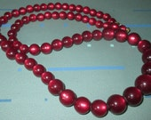 Vintage Cherry Red Moonglow Lucite Graduated Long Bead Necklace