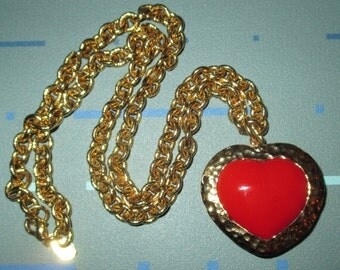 Vintage Red Plastic Heart Pendant Necklace with Chunky Chain Signed Carolee