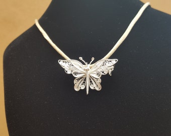 Butterfly - silver filigree pendant and brooch
