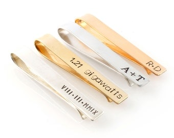 Mens Personalized Tie Bar - Custom Tie Clip in Silver, Gold, or Rose Gold - Perfect Groomsmen Gift