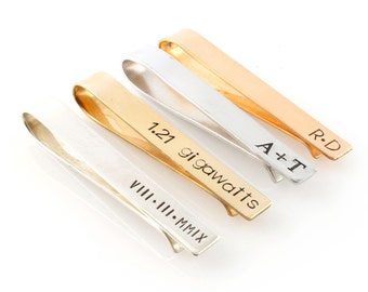 Mens Personalized Tie Bar - Custom Tie Clip in Silver, Gold, or Rose Gold