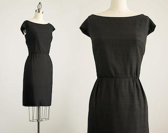 60s Vintage Black Bullocks Wilshire Wiggle Sheath Dress / Size Small