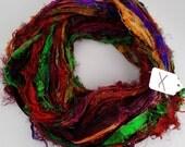 Sari Silk Ribbon, Recycled Silk Sari Ribbon, multi color Fuzzy ribbon, multicolor ribbon, washed ribbon