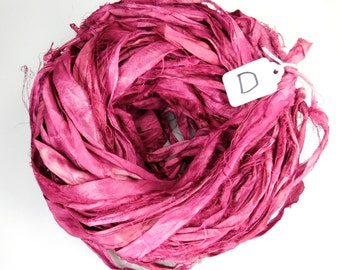 Silk Sari Ribbon, recycled sari ribbon, rustic wine sari ribbon, wine ribbon, weaving supply, knitting supply, Sari Silk Ribbon, Ribbon