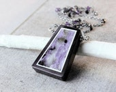 Multi Gemstone Necklace Oxidized Silver Lilac Charoite  Necklace Gemstone Jewelry Multi Color  Purple Stone Jewelry  Charoite Jewelry