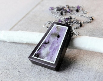 Multi Gemstone Necklace Oxidized Silver    Gemstone  Multi Color  Purple Stone Jewelry  Charoite Necklace Gifts For Women