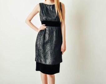 Vintage Black Velvet & Metallic Dress