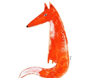 Fox Illustration, Fox Wall Art, Orange Fox Print, Cute Fox