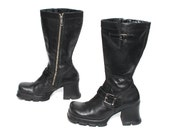 size 8.5 PLATFORM black leather 80s 90s MOTORCYCLE BUCKLE grunge zip up boots