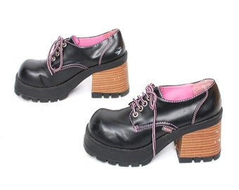 size 6 PLATFORM black pink 90s CHUNKY GRUNGE low cut lace up ankle boots