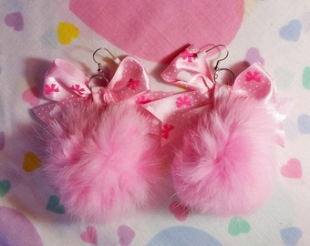 Pompom earrings, pink faux fur polka dot bow 90s fairy kei jewelry