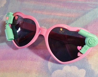 Pink heart sunglasses, decorated mint adult cabochon sunnies barbie lolita beauty supply fairy pop kei