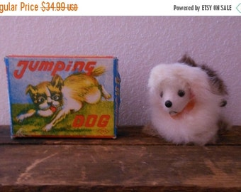 JULY SALE Vintage 1960s 60s Jumping Dog Wind Up Toy Made in Japan by OKA Cib