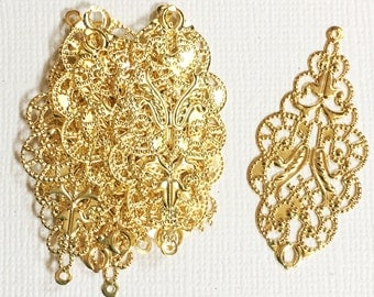 Bulk100 pcs of gold  filigree connector links 19x42mm, gold filigree drops, gold filigree pendant