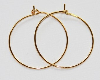50 pcs Gold plated earring hook  25mm, gold earring hoop, gold earwire, gold plated earring, round earring hook