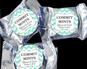 48 York Peppermint Pattie® Stickers - Wedding Favor, Shower Favors, Stickers for Mints and tins - Chevron COMMIT MINTS