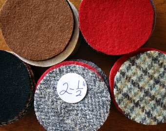 Felted Wool Circles -- 50 Wool Pennies -- 2-1/2 inch