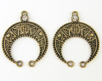 Crescent Earring Findings Antique Brass Bronze Clear Rhinestone Tribal Horseshoe Chandelier Jewelry Component |AN4-3|2