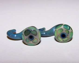 1 gauge green and blue dangle glass plugs (604)