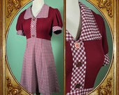 60s Mod gingham babydoll mini dress