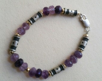Purple fluorite bracelet with designer silver and gold fill beads