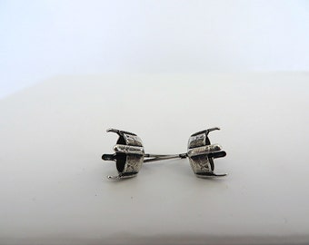 1 Pair Antiqued Silver Plated Post Stud Earrings for Swarovski 39ss 8mm Chatons