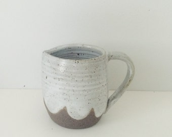 White Ceramic Creamer Pitcher, handmade pitcher white speckled ceramic cloud pattern ready to ship coffee creamer pitcher