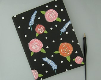 Flowered Notebook, Hand Painted Roses, Garden Journal, Extra Large Moleskine Cahier Journal, Flowered Diary, Painted Journal