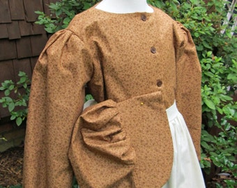 Ready to ship Girls size 14/16 Pioneer dress,muslin apron  and Bonnet/Brown calico