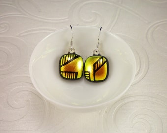 Hand Etched Golden Red Dichroic Glass Earrings with Sterling Silver French Hooks