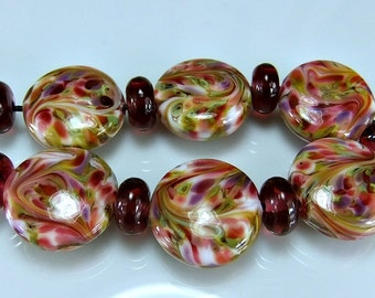 Glass Lampwork Bead Set, Pink,  Ivory,  Green, Purple, Victorian Roses