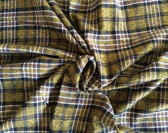 Flannel-  Flannel Fabric - Flannel-Plaid - By the Yard - Yellow, Brown - Black- White-  Plaid Flannel -Scarf Fabric