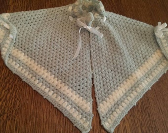Vintage Blue Crocheted Baby or Doll Cape
